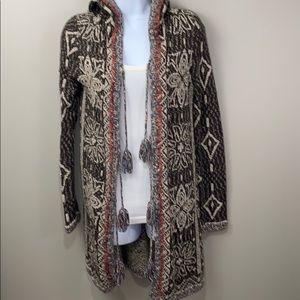 Free People Hooded Cardigan w/Tassel Tie Closure